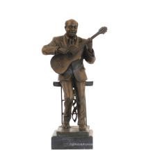 Musique Décor En Laiton Statue Interprète Sculpture Sculpture En Bronze Tpy-749