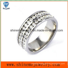 Shineme Jewelry Stainless Steel Double Row Stones Finger Ring (CZR2585)