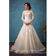 New Arrival 2017 Wedding Dress Scoop Long Sleeves Chapel Train Appliques Tulle Button Back Vestidos Mermaid Bridal Gowns WW1426