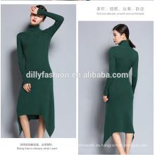 Nueva moda falda suéter para mujer de punto de cuello alto largo suéter delgado