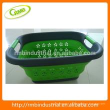 Cesta de lavandería plástica plegable; Cesta de baño; Cesta de almacenamiento de plástico