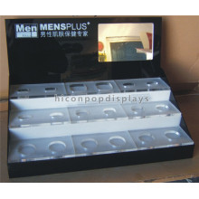 Custom Counter Top 3-Layer-Werbung Acryl Make-up Nagellack Gesichtscreme Display Stand mit Spiegel