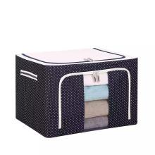 Non Woven Box Quilt Storage Bag Steel Frame Box Oxford Cloth Folding Wardrobe Fabric Extra Large Toys Sundries Organizer