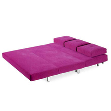 3-Seater Folding Purple Fabric Futon Sofa Bed