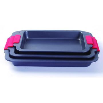 Silicone grip rectangle cake pan