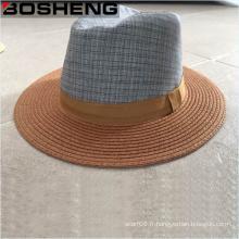 Vente en gros Flat Brim Straw Fedora Sun Hat with Fabric Crown