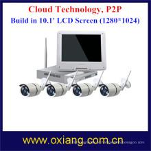 4 tela de exposição completa NVR da câmera HD de WiFi do jogo da câmera NVR do IP do canal