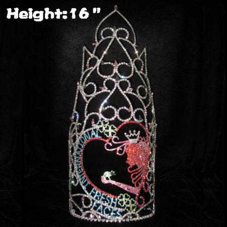 16 pulgadas de altura Gran concurso de cristal Cara fresca Coronas personalizadas