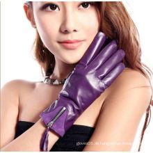 Traditonal Black Schaffell Patent Leder Warm Handschuhe für Mädchen