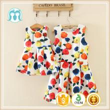 Na venda-mulheres confortáveis mom & kids barato granel impressão cheia de algodão moda flores padrão de design flor menina vestido