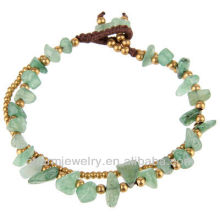 Pierre d'aventurine naturelle avec perles en laiton Bracelet à main Crafts V-SB-0028