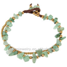 Natural Aventurine Stone with Brass Beads Hand Crafted Bracelet Vners SB-0028