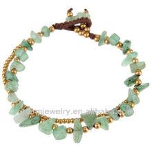 Natural Aventurina Pedra com contas de bronze Hand Crafted Bracelet Vners SB-0028