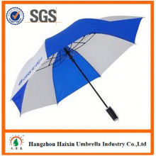 Cheap Prices!! Factory Supply manual 2 fold umbrella in print with Crooked Handle