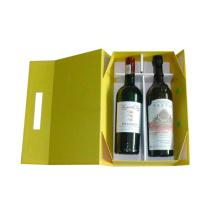 2 botellas de cartón plegable Caja de vino de papel con mango