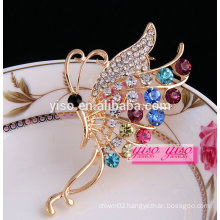 graceful colorful wedding crystal butterfly brooch pins