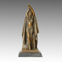 Dancer Bronze Sculpture Pretty Female Deco Brass Statue TPE-180