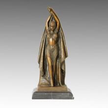 Танцовщица Бронзовая скульптура Довольно женский деко-латунная статуя TPE-180