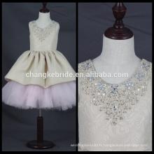 Haute qualité 2017 nouvelle robe sans manches en fleur pour fête Communion robe de bal robe de cristal