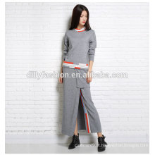 Primavera / Outono Últimas DesignCashmere Ladies Ternos Camisola de manga comprida / saia 2 Piece Womens Suit