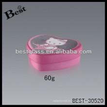 Tarros de aluminio rosados de la forma del corazón de la crema para la cara 60g, tarro de aluminio cosmético, tarros del envase de empaquetado cosméticos