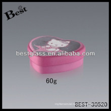 60g pink face cream heart shape aluminum jars, cosmetic aluminum jar, cosmetic packaging container jars