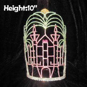 Coronas de certamen en forma de castillo de cristal de 10 pulgadas de altura con árbol plam