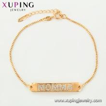 75124 Xuping loja de jóias design de interiores fantasia gravado carta pulseira de correntes de ouro