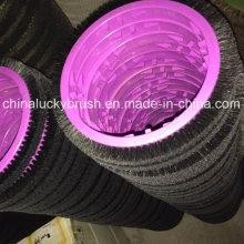 Cepillo de cerdas negras púrpura placa de textiles