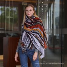 Moda feminina design personalizado atacado viscose algodão impresso listra mulheres cachecol