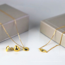 Factory direct new 925 sterling silver jewelry set heart-shaped bracelet necklace gold-plated earrings