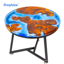 50 mm Blue color Round wood decorative resin furniture stool