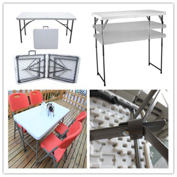 4ft Blow Mould HDPE Plastic High Quality Low Price Cheap Banquet Dining Banquet Catering Picnic Camping Barbecue Folding in Half Rectangle Table (HQ-Z122)