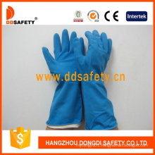 Blue Latex Spray Flock Lined Diamond Grip Beaded Cuff Household Working Gloves DHL426