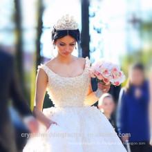 Vestido de novia blanco elegante de los vestidos de boda del cordón del vestido de bola de Alibaba China vestidos de novia con las perlas pesadas LWB09
