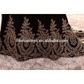 Элегантный Золотой вышивкой длинный рукав Муслин вечернее платье 2017 этаж длина сексуальная русалка ажурные вечерние платья женщин длинные