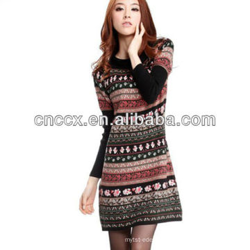 12STC0693 senhora vestido moda casual camisola de malha
