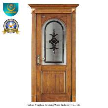 Классическая Европейская твердая деревянная дверь со стеклом (ДС-8022)