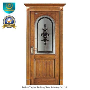 Porta de madeira maciça europeia clássica com vidro (ds-8022)