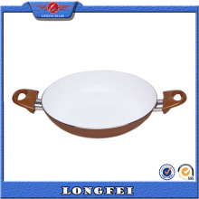 Not Easily Sticky White Coating Double Handle Fry Pan