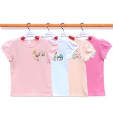 Kundenspezifische 100% Baumwolle niedliche Karikatur scherzt T-Shirt Hersteller-Mädchen-T-Shirt Alter 2-14