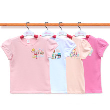 Custom 100% Cotton Cute Cartoon Kids Tshirt Manufacturer Girl Tshirt Age 2-14