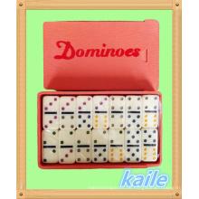 Doppel 6 kleine bunte Domino in Plastikbox