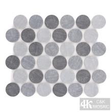 Denim Blue Round Fabric Printing Glass Mosaic Tile