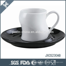 Taza y platillo de café de porcelana 100CC, taza y platillo coloreados
