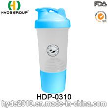 500ml PP BPA liberan proteína plástico agite la botella, botella plástica de la coctelera (HDP-0310)