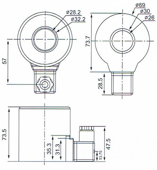 Overall dimension of 26mmx69mmx74mm Bosch Rexroth Hydraulic Valve Coil