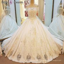 LS00080 hors épaule grande robe robe robe de mariée avec 3d mariée fleur robe de mariage 2017 luxe