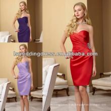 HB2003 Sweetheart padrão sem mangas joelho-comprimento vestido de dama de honra ruched