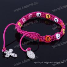 Katholische Strickkreuz Rosenkranz String Armband mit Buchstaben Perlen